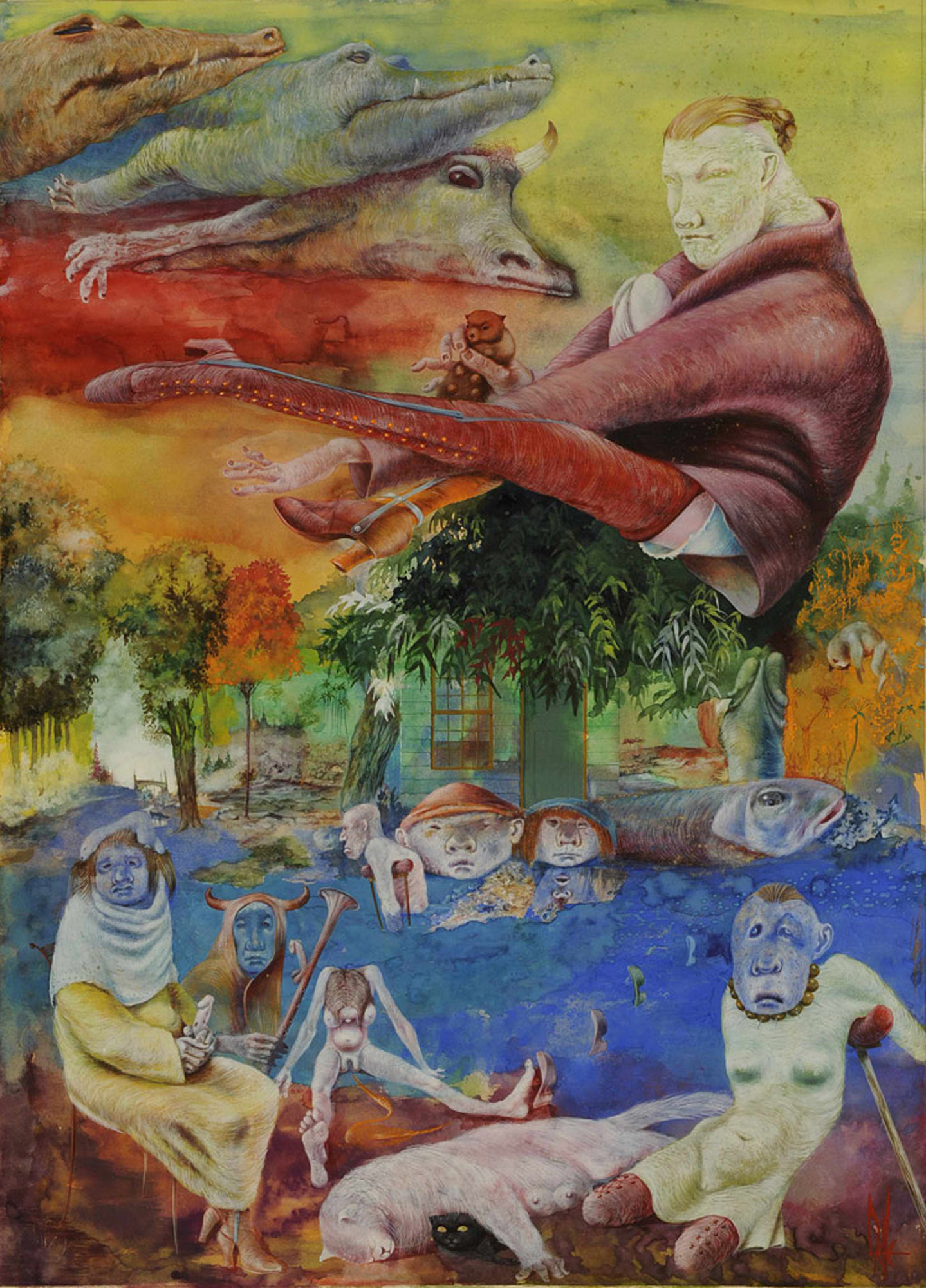 Melle schilder | Mensen en dieren, gouache op papier