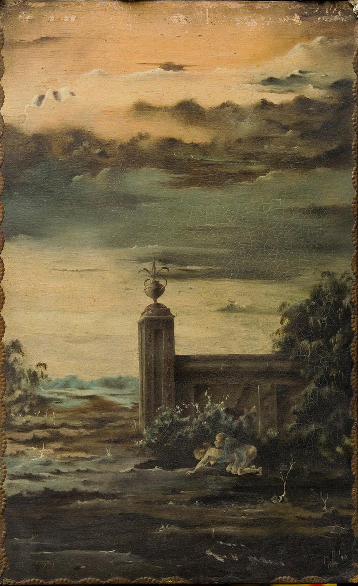 Melle schilder | Twee mensen op kerkhof, olieverf op paneel