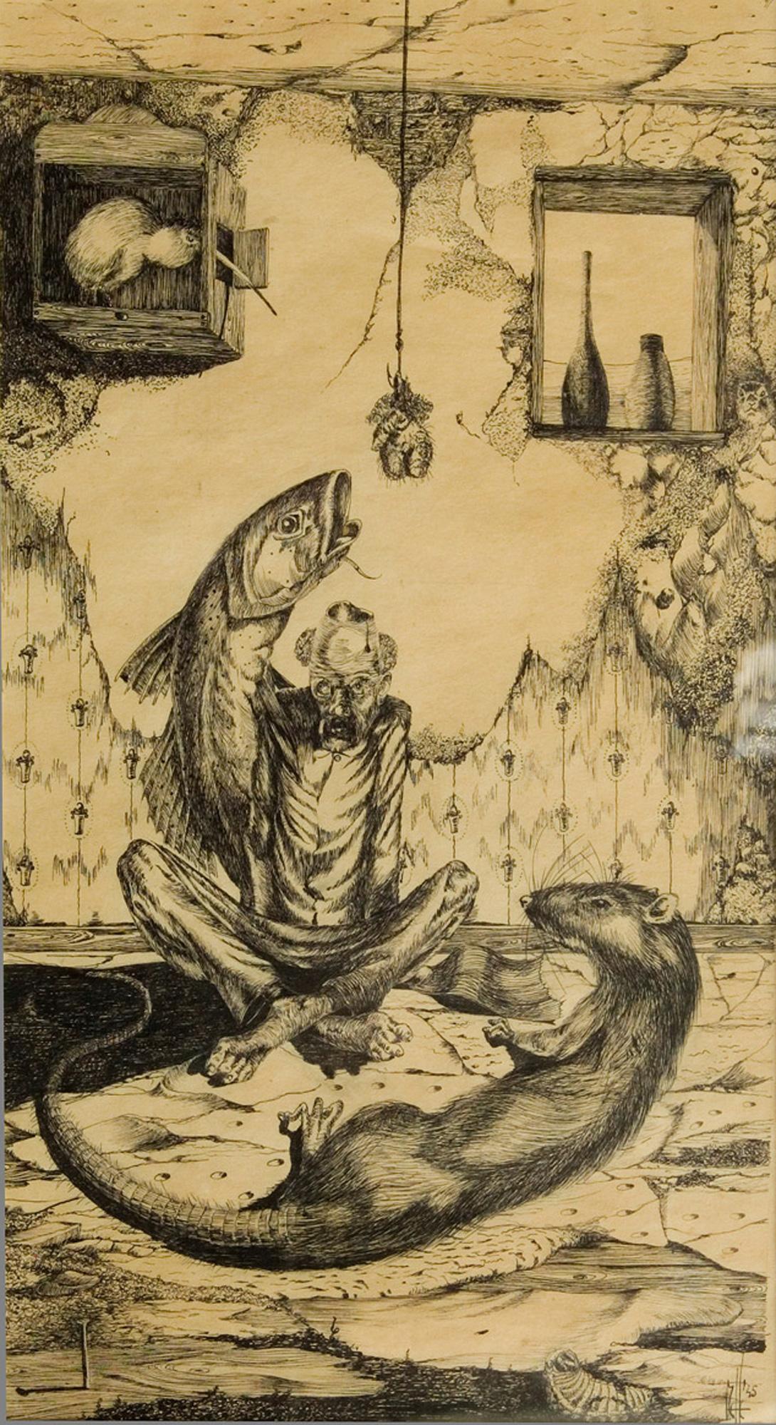 Melle schilder | hongerwinter, oostindische inkt op papier