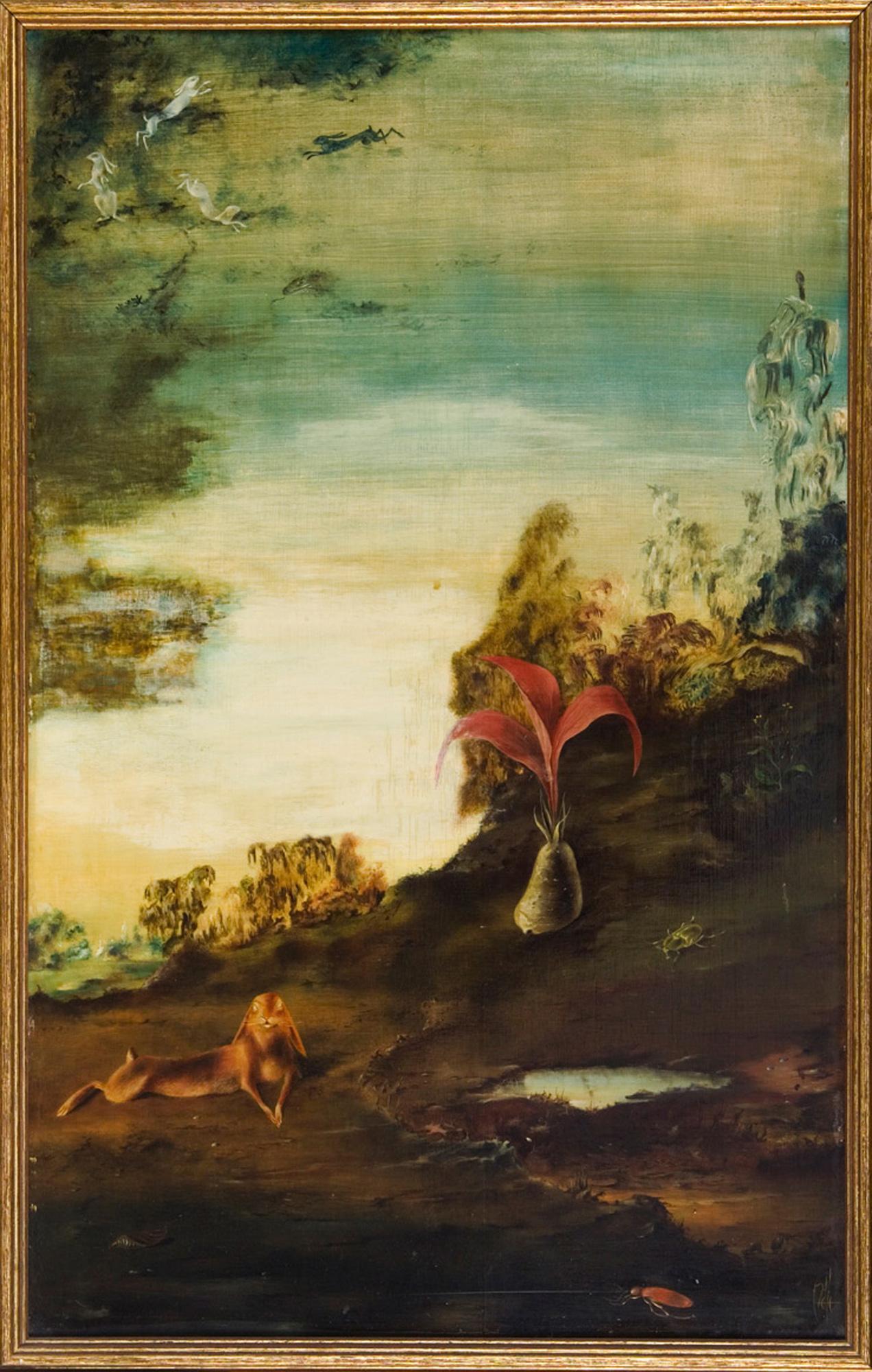 Melle schilder   Hazenhemel, olieverf op paneel