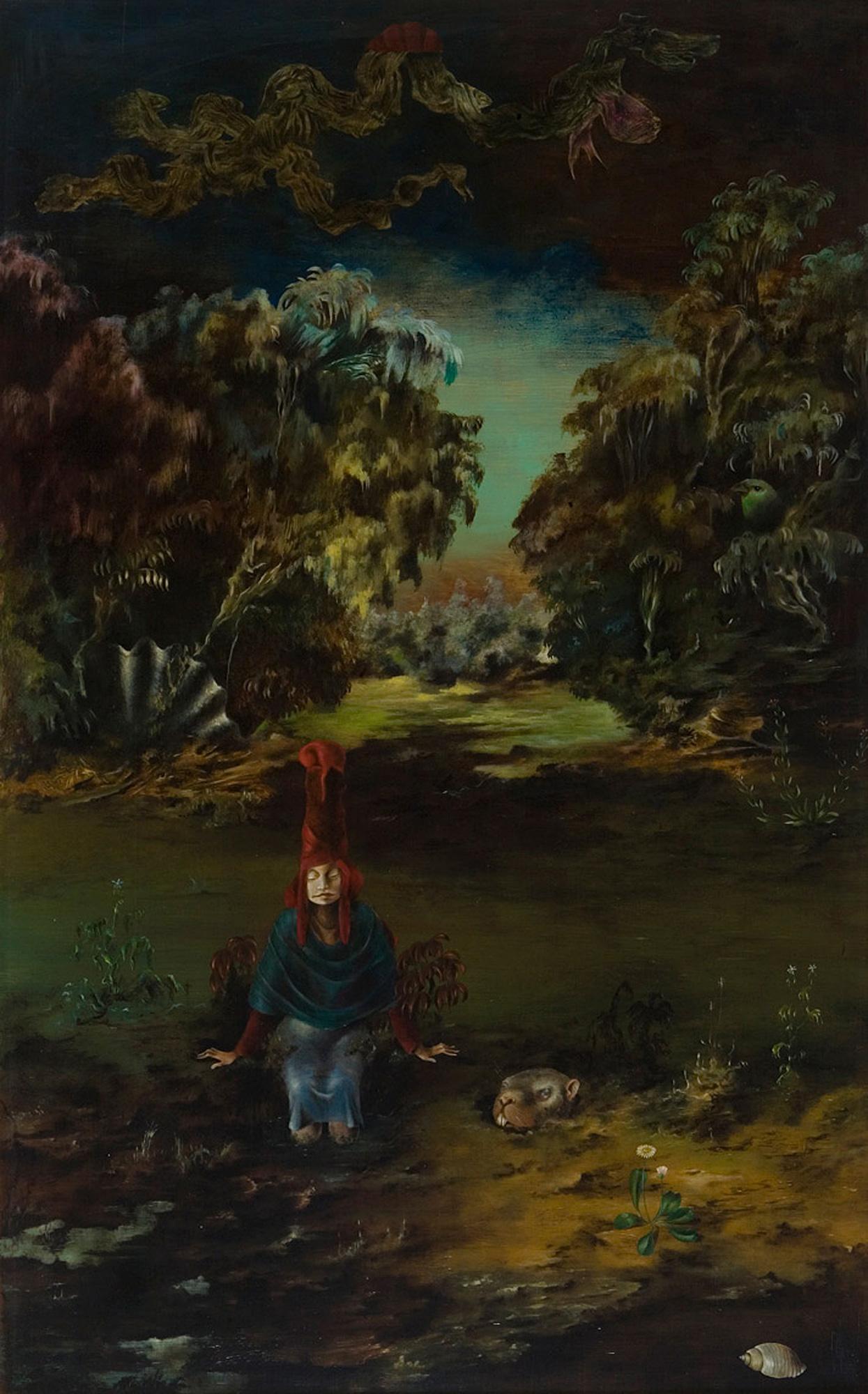 Melle schilder | Vrijheid in het rood, olieverf op paneel