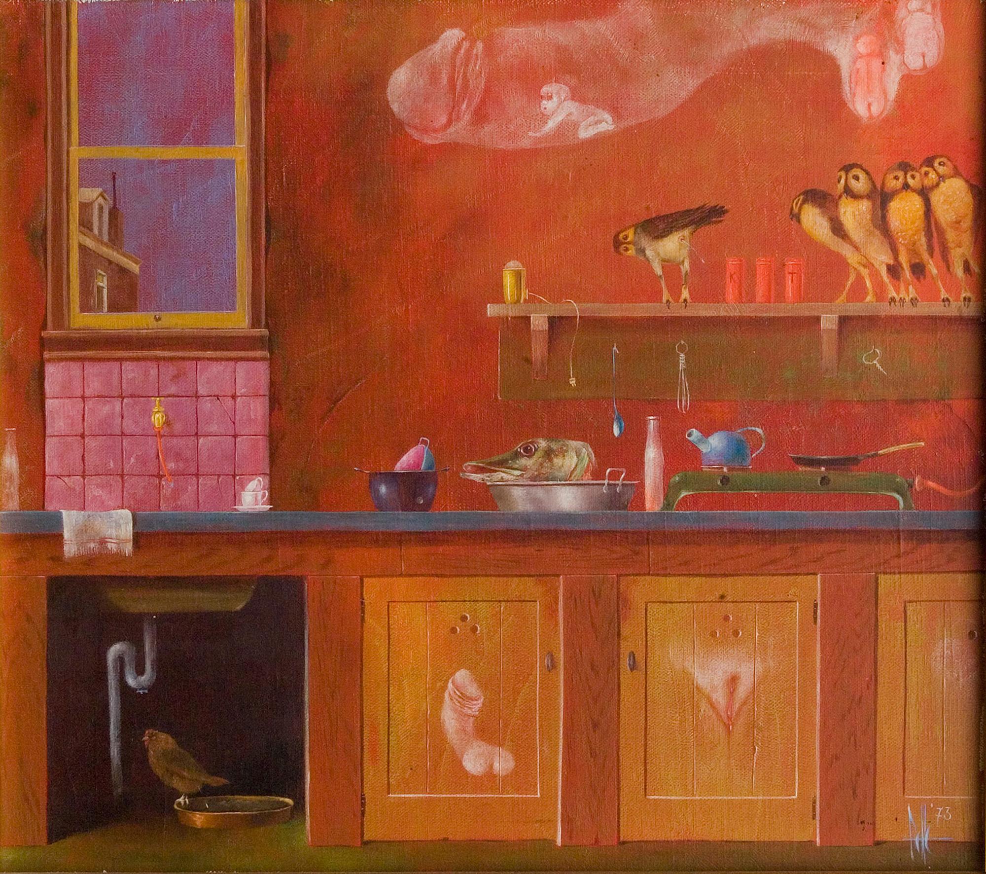 Melle schilder | Keukentje II, olieverf op linnen