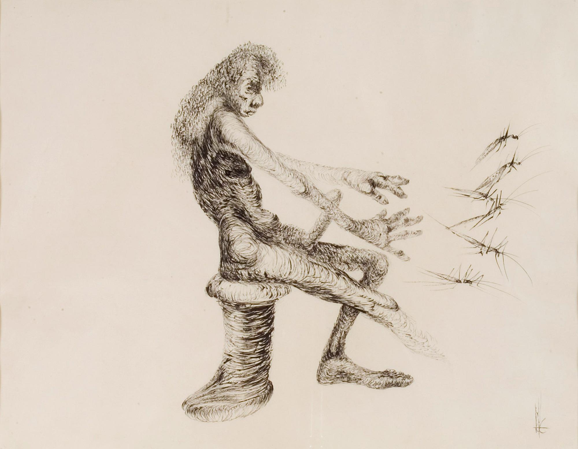 Melle schilder | Sprinkhanenman, oostindische inkt op papier