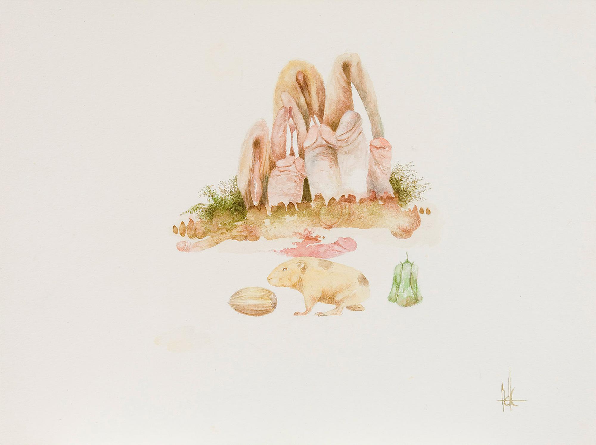 Melle schilder | zonder titel, aquarelverf op papier