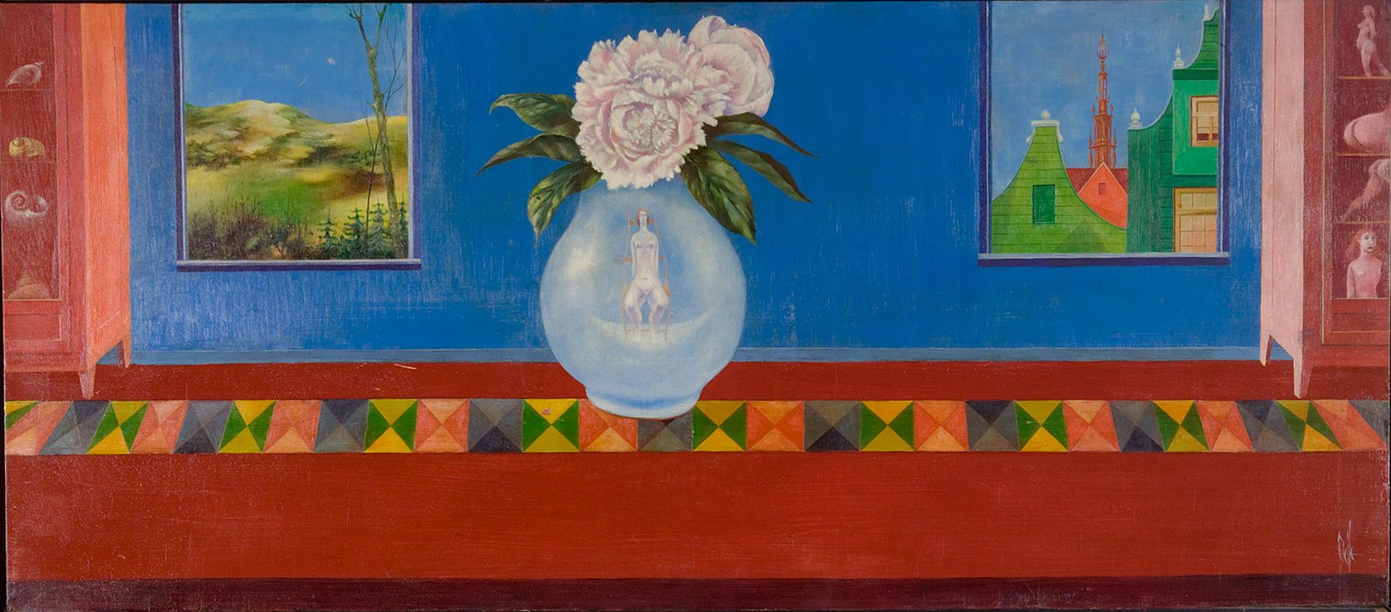 Melle schilder   Blauw interieur, olieverf op Paneel