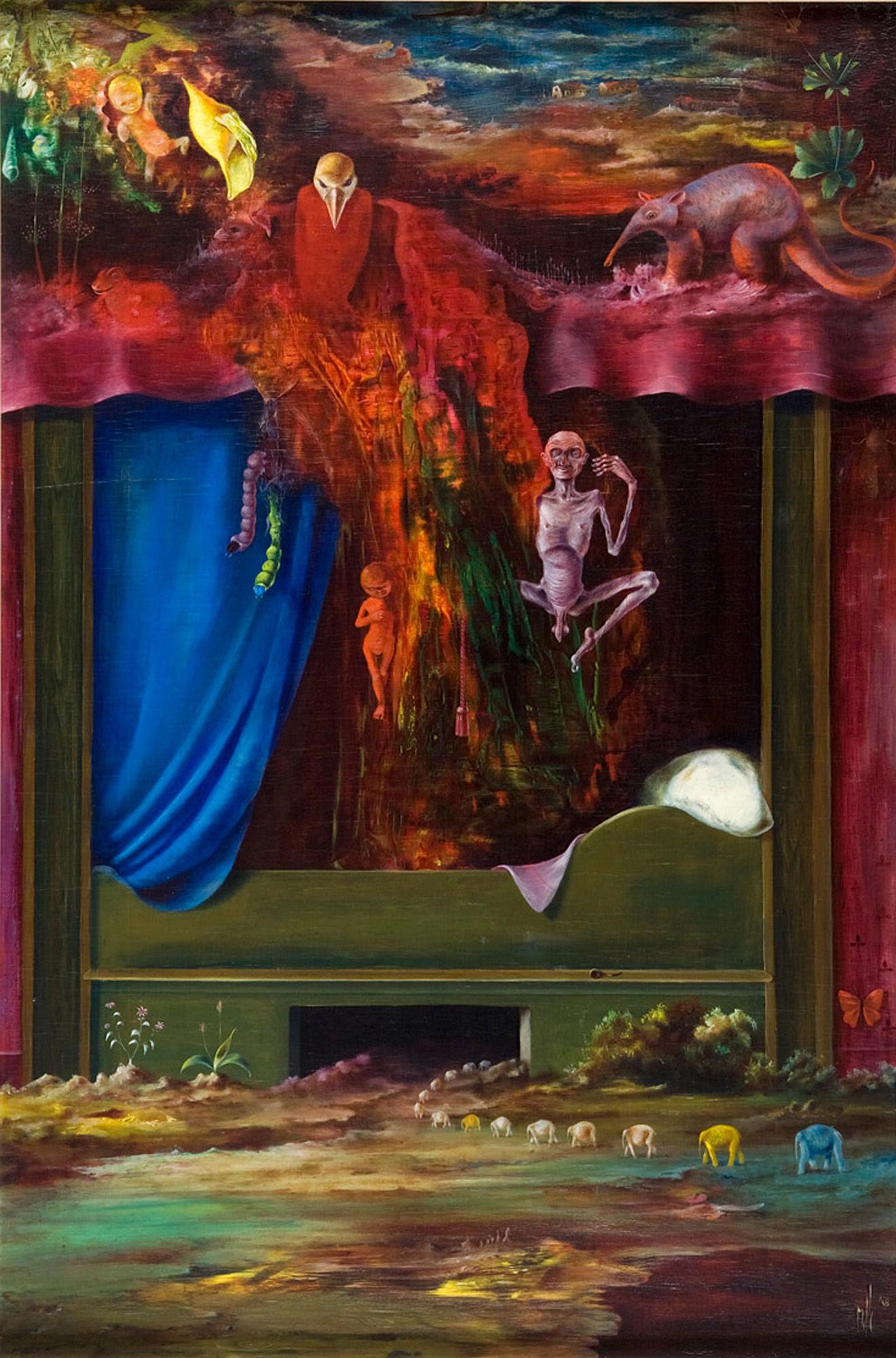 Melle schilder   Oude man in bed, olieverf op paneel