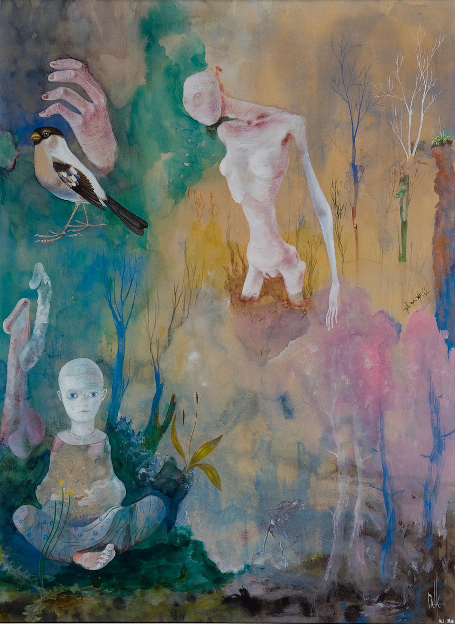 Melle schilder   zonder titel, gouache op papier