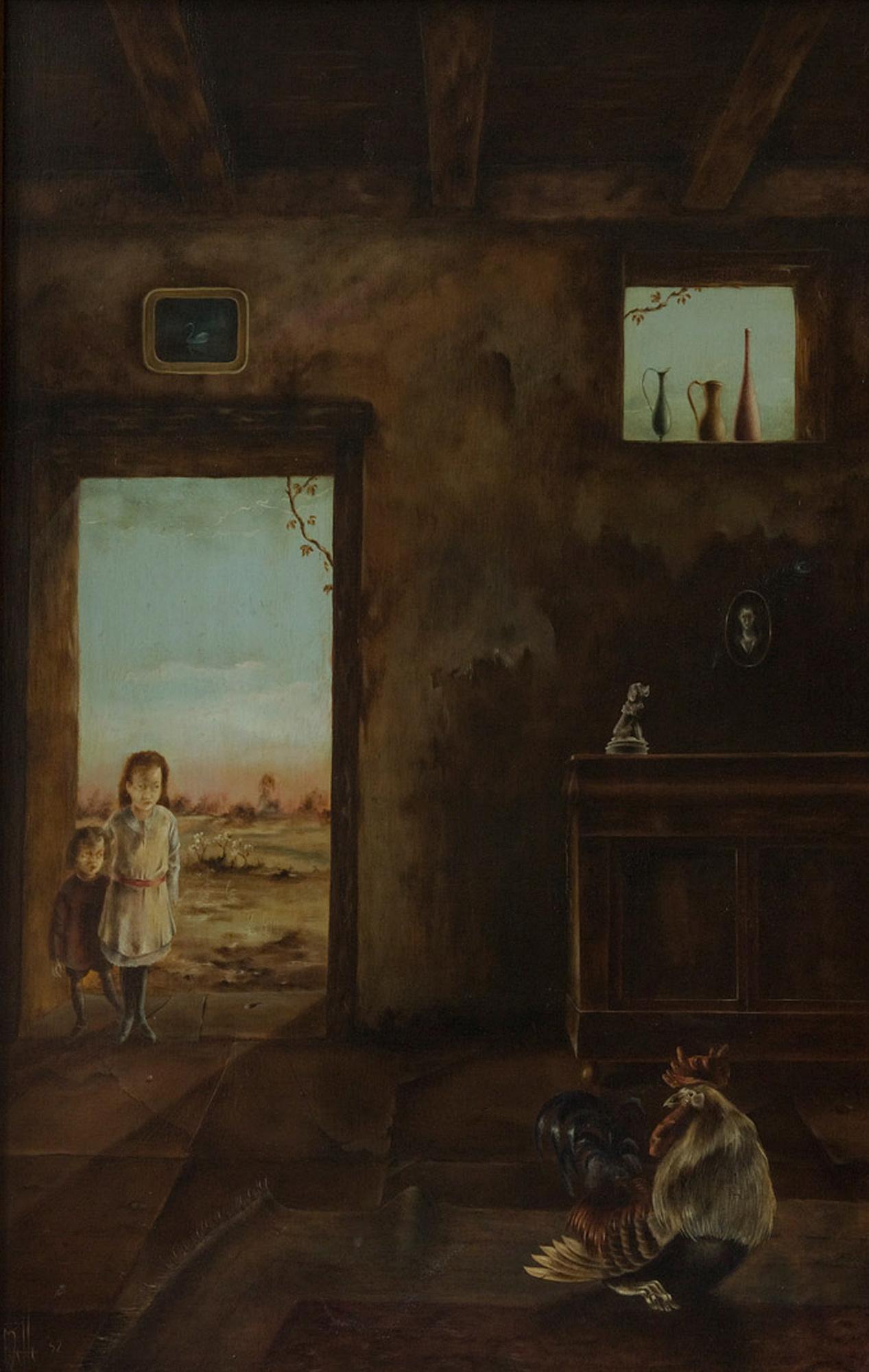 Melle schilder | Kinderen met haan, olieverf op linnen