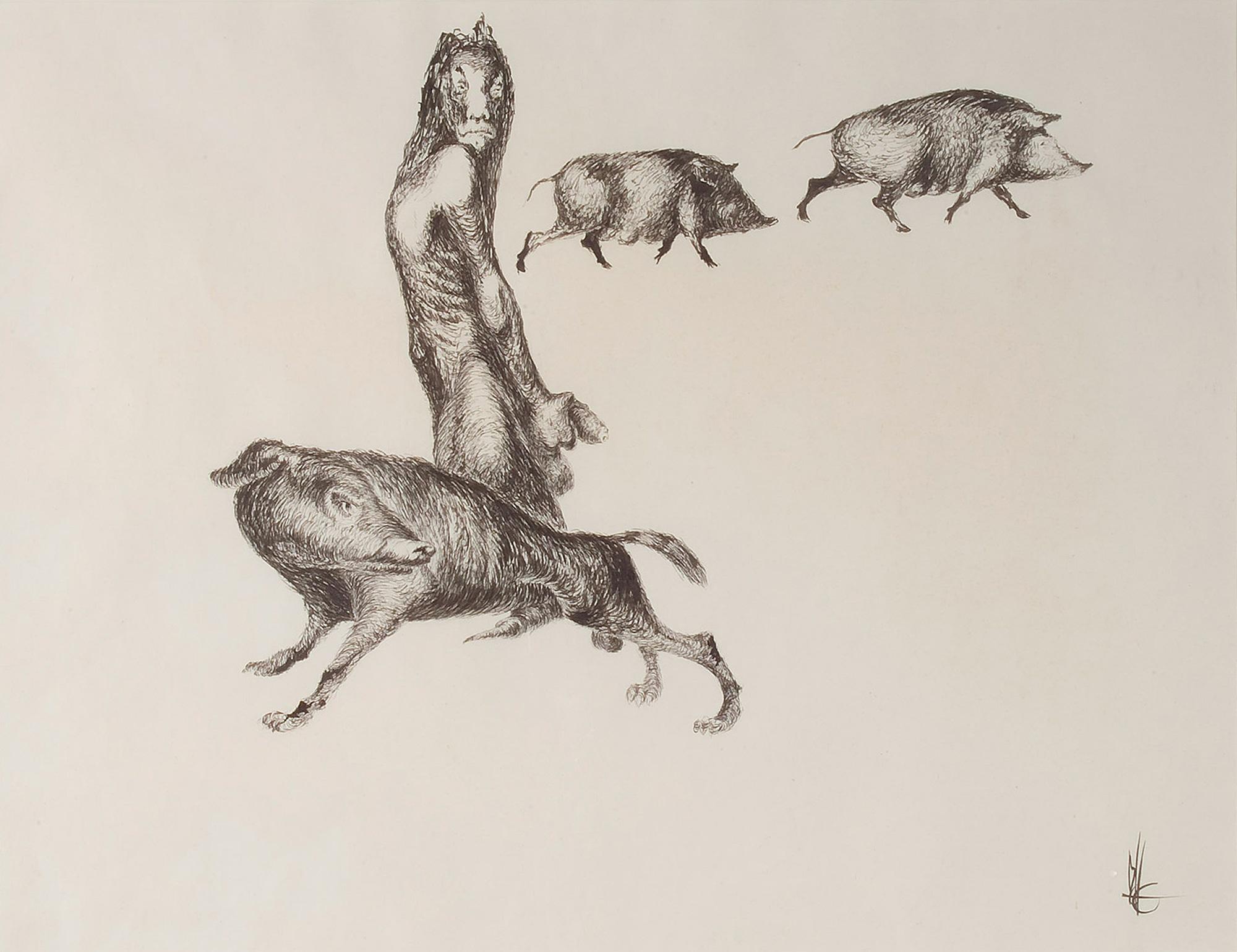 Melle schilder | Man met zwijnen, Oostindische inkt op papier
