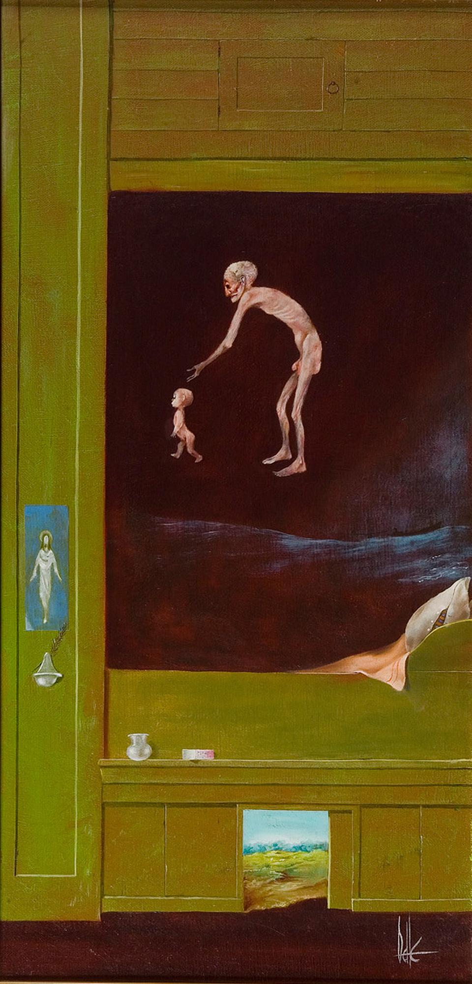 Melle schilder   zonder titel , olieverf op  doek op paneel