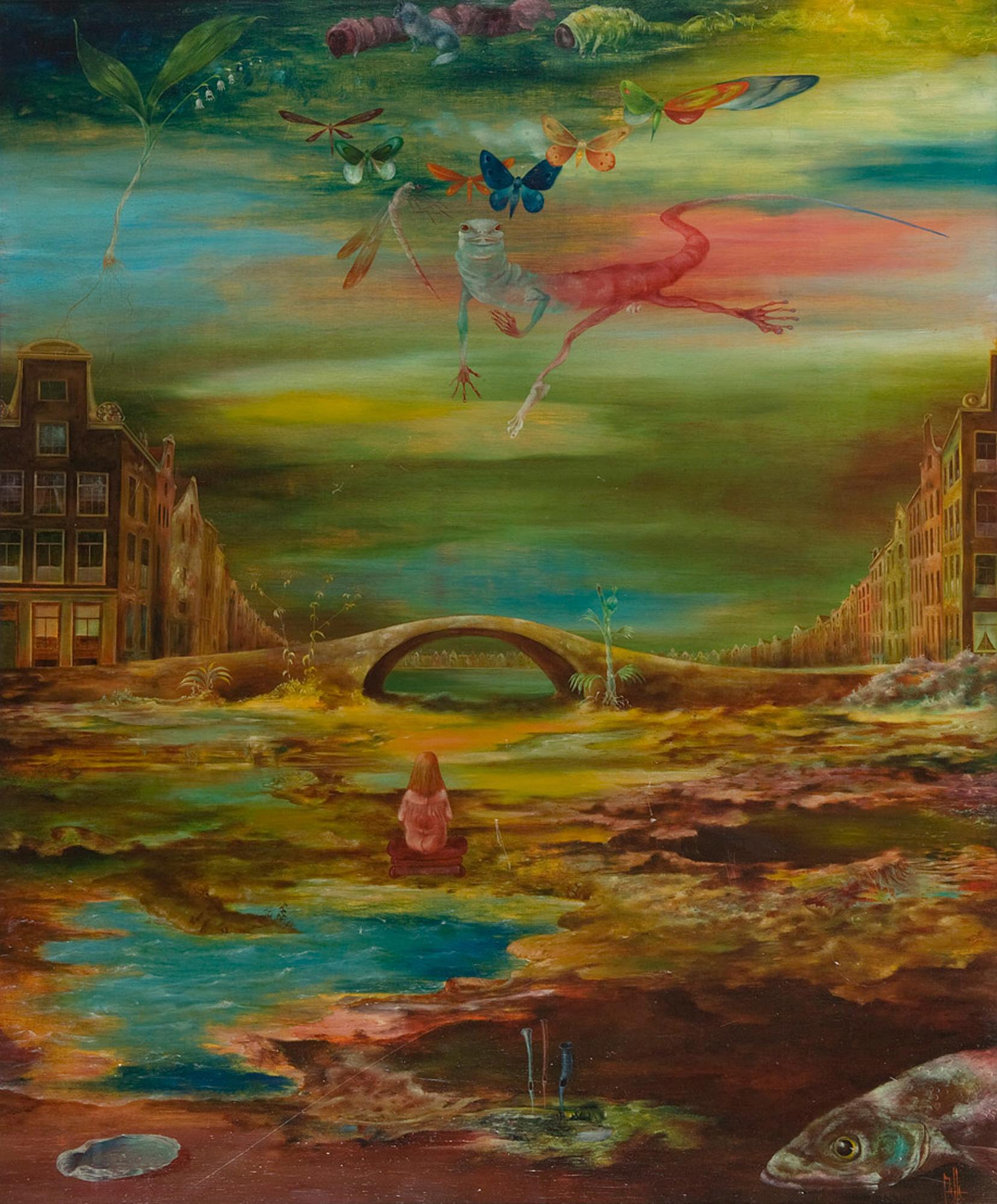 Melle schilder   Amsterdam, olieverf op paneel