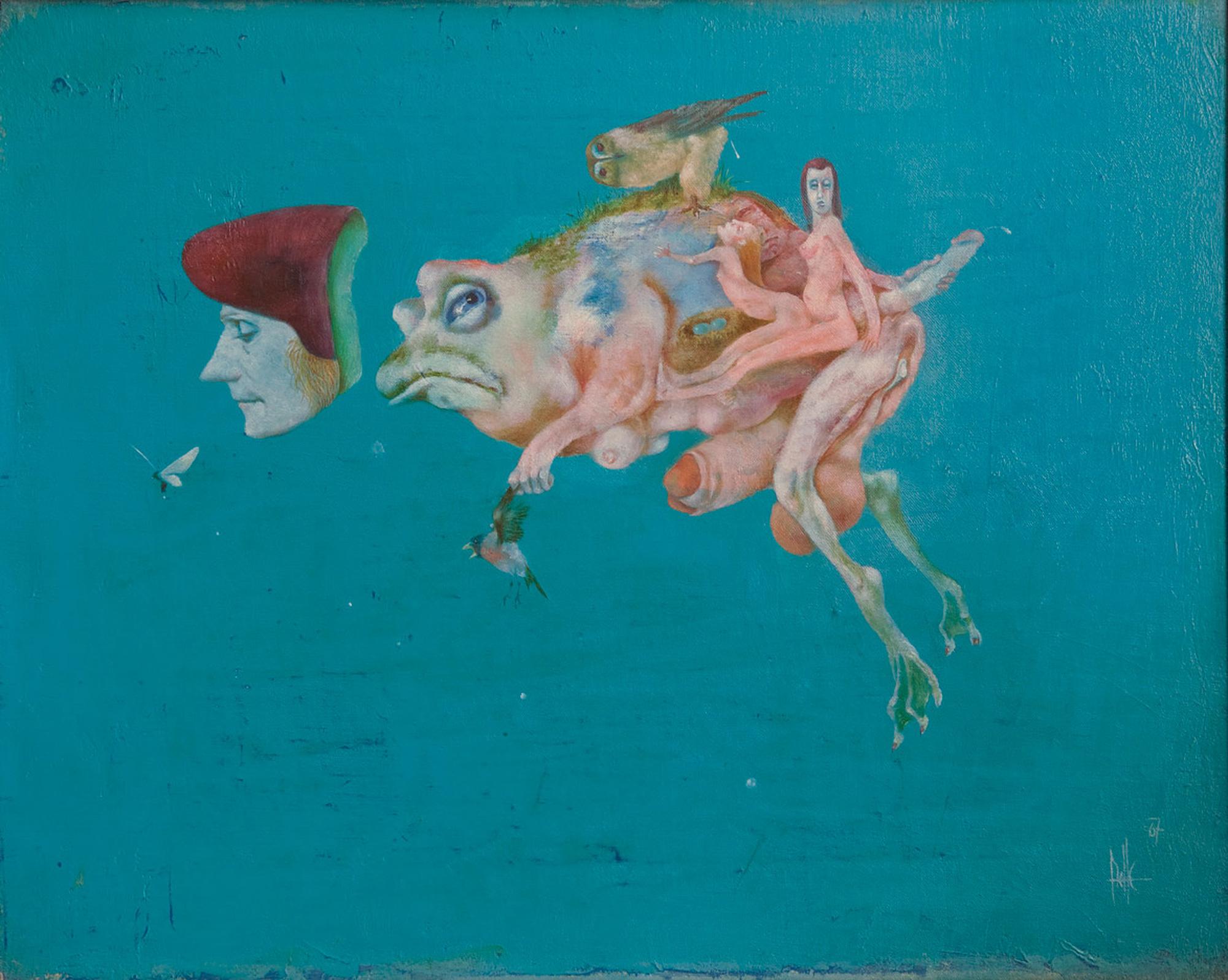 Melle schilder | Pipa met Erasmus, olieverf op linnen