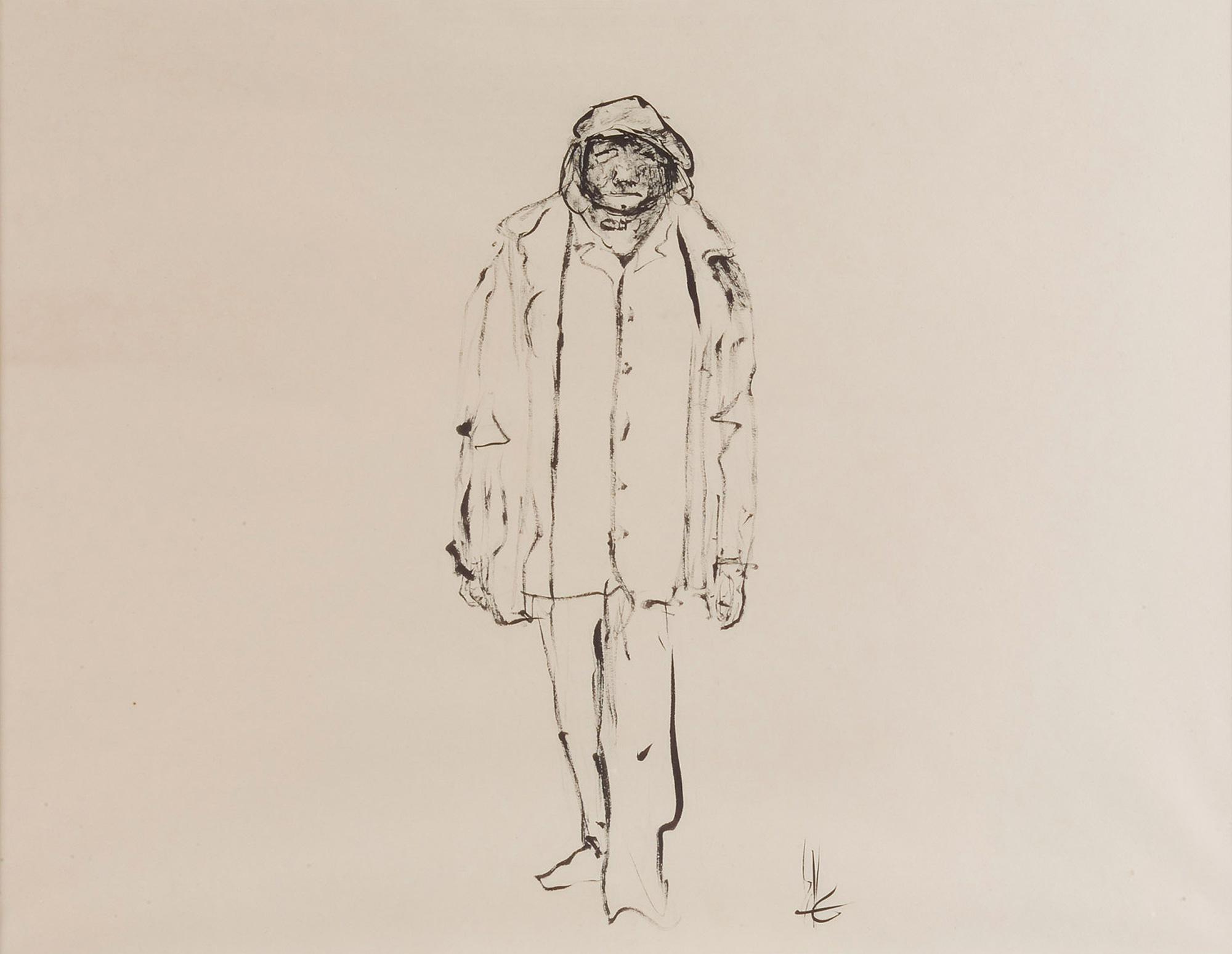 Melle schilder | zonder titel, oostindische inkt op papier
