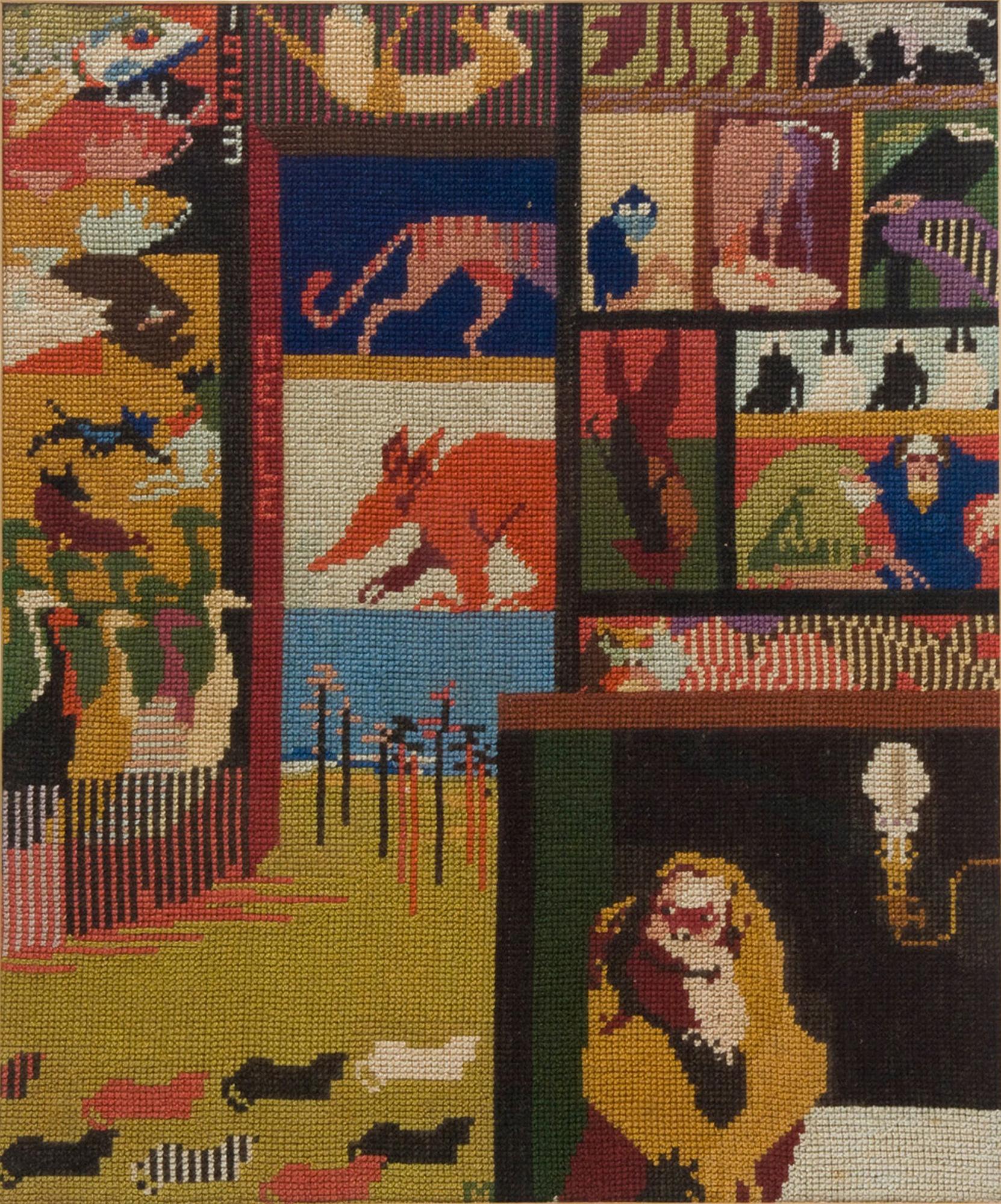 Melle schilder | Kleine roofdierengalerij, borduurzijde op stramien