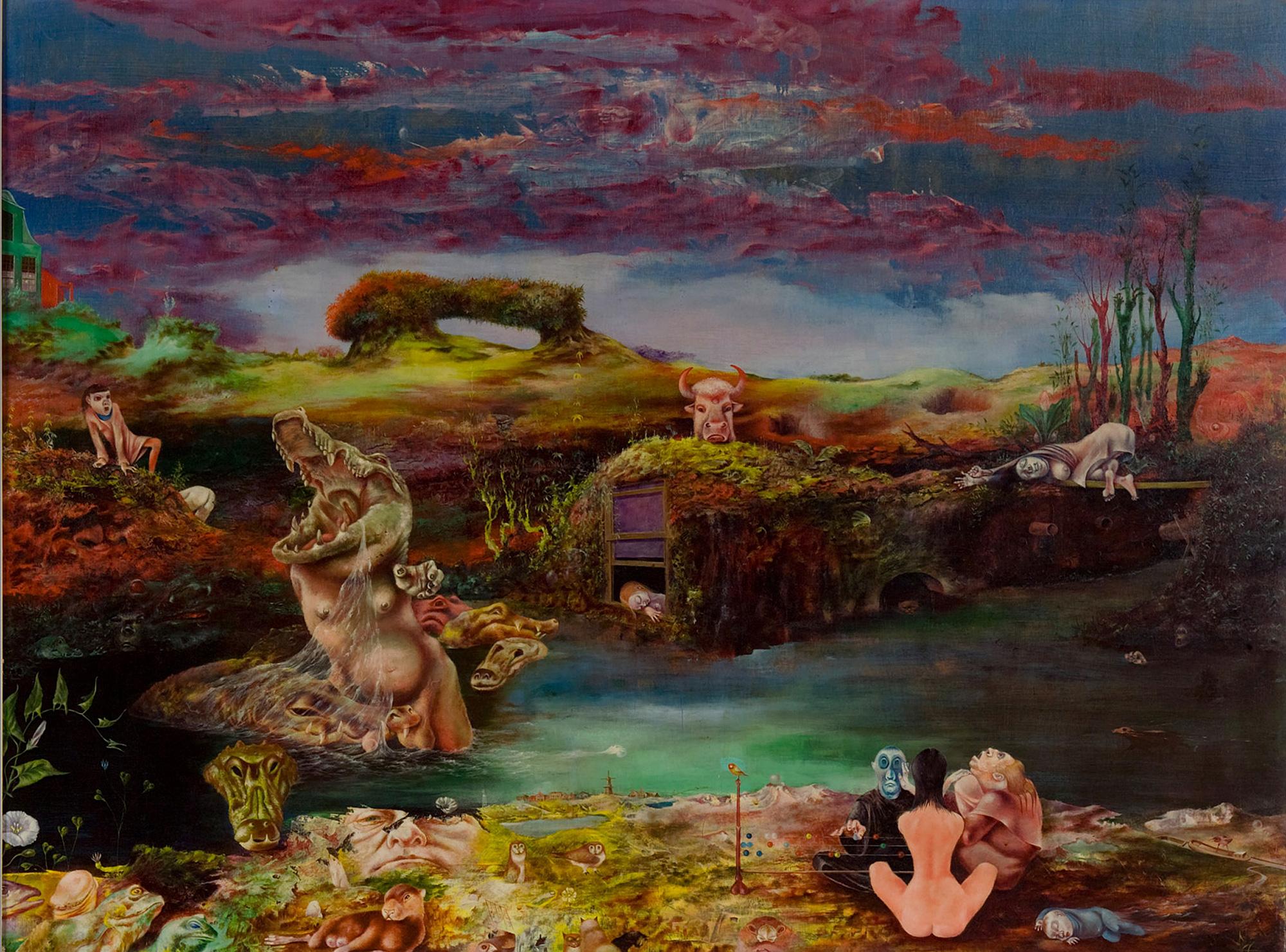 Melle schilder | Krokodillengevecht, olieverf op paneel