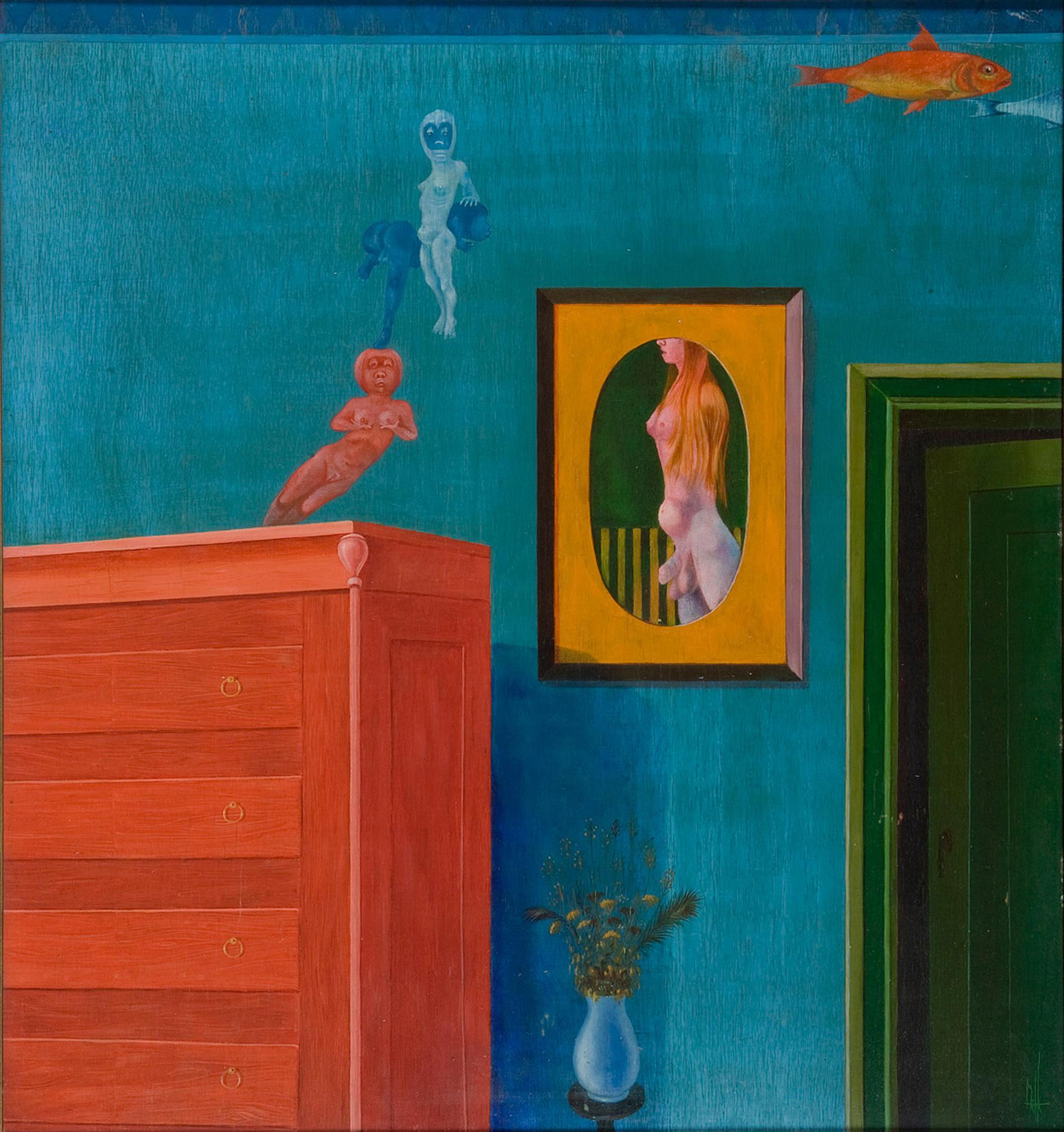 Melle schilder   Interieur, olieverf op paneel