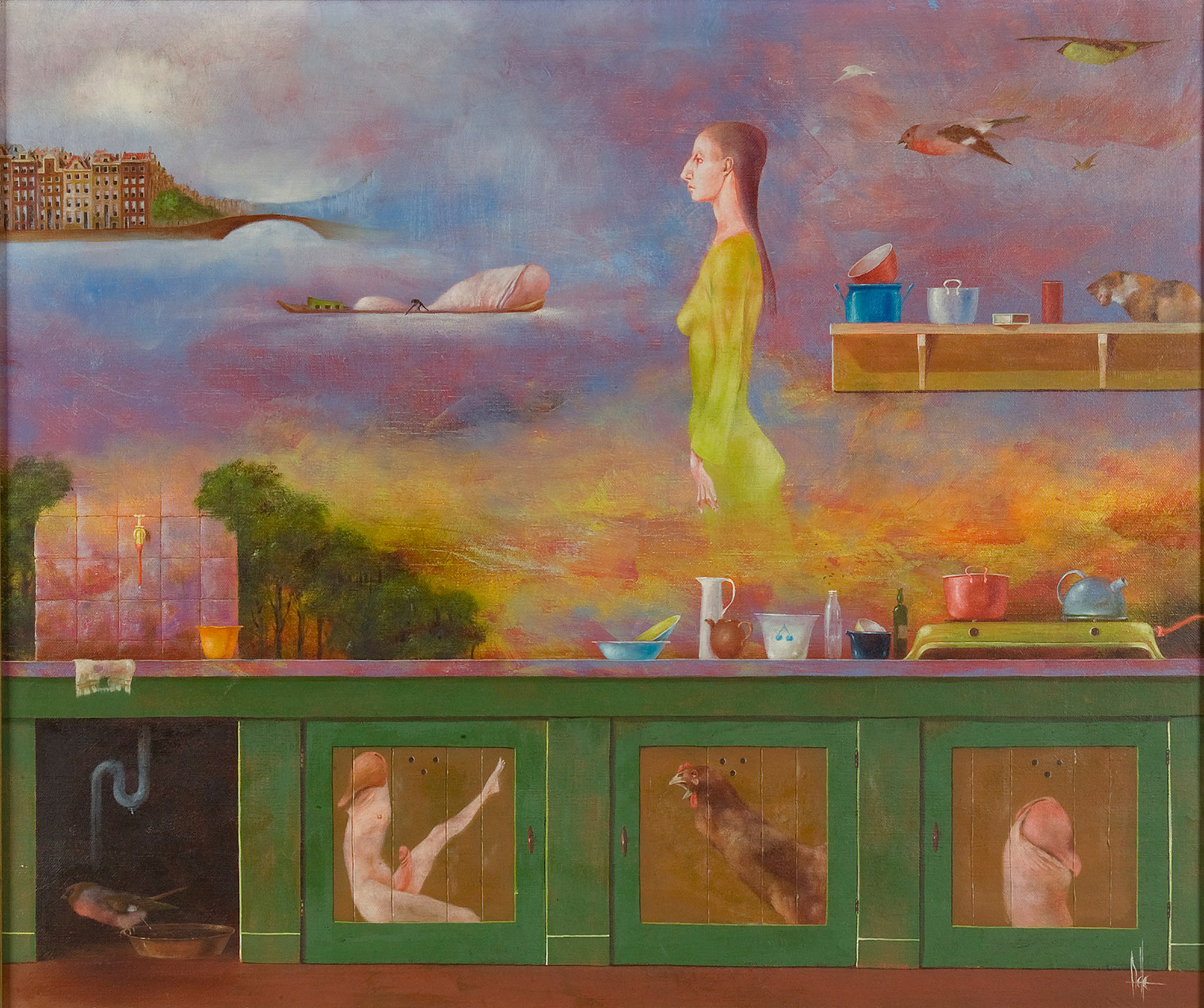 Melle schilder | Keukentje VI, olieverf op linnen