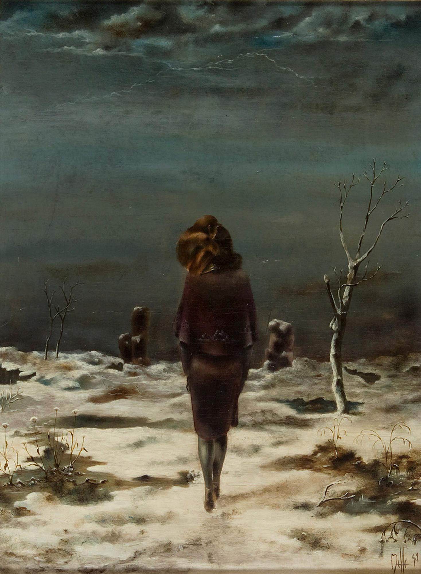 Melle schilder | Sneeuwlandschap, olieverf op paneel