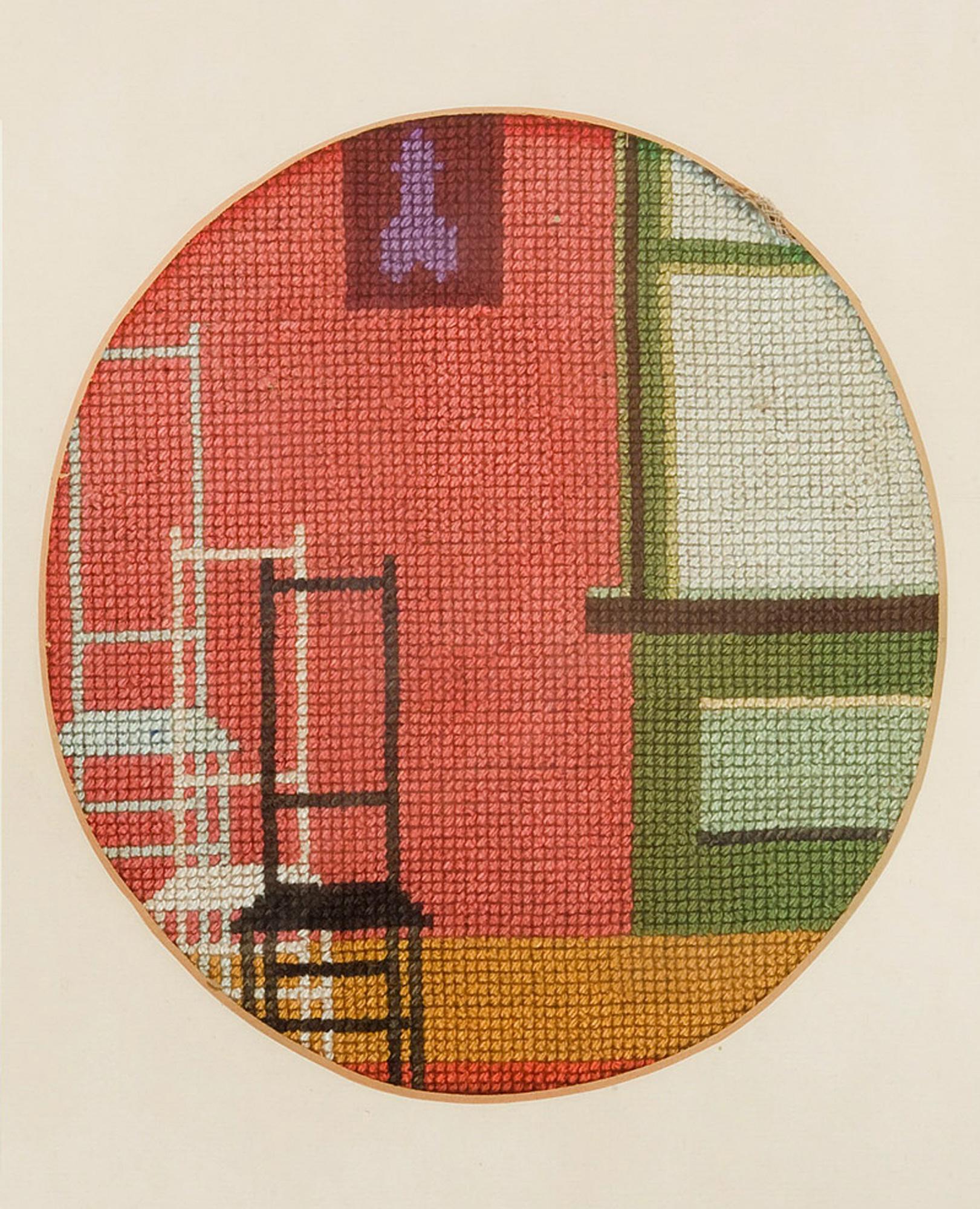 Melle schilder | stoelen, borduurzijde op stramien