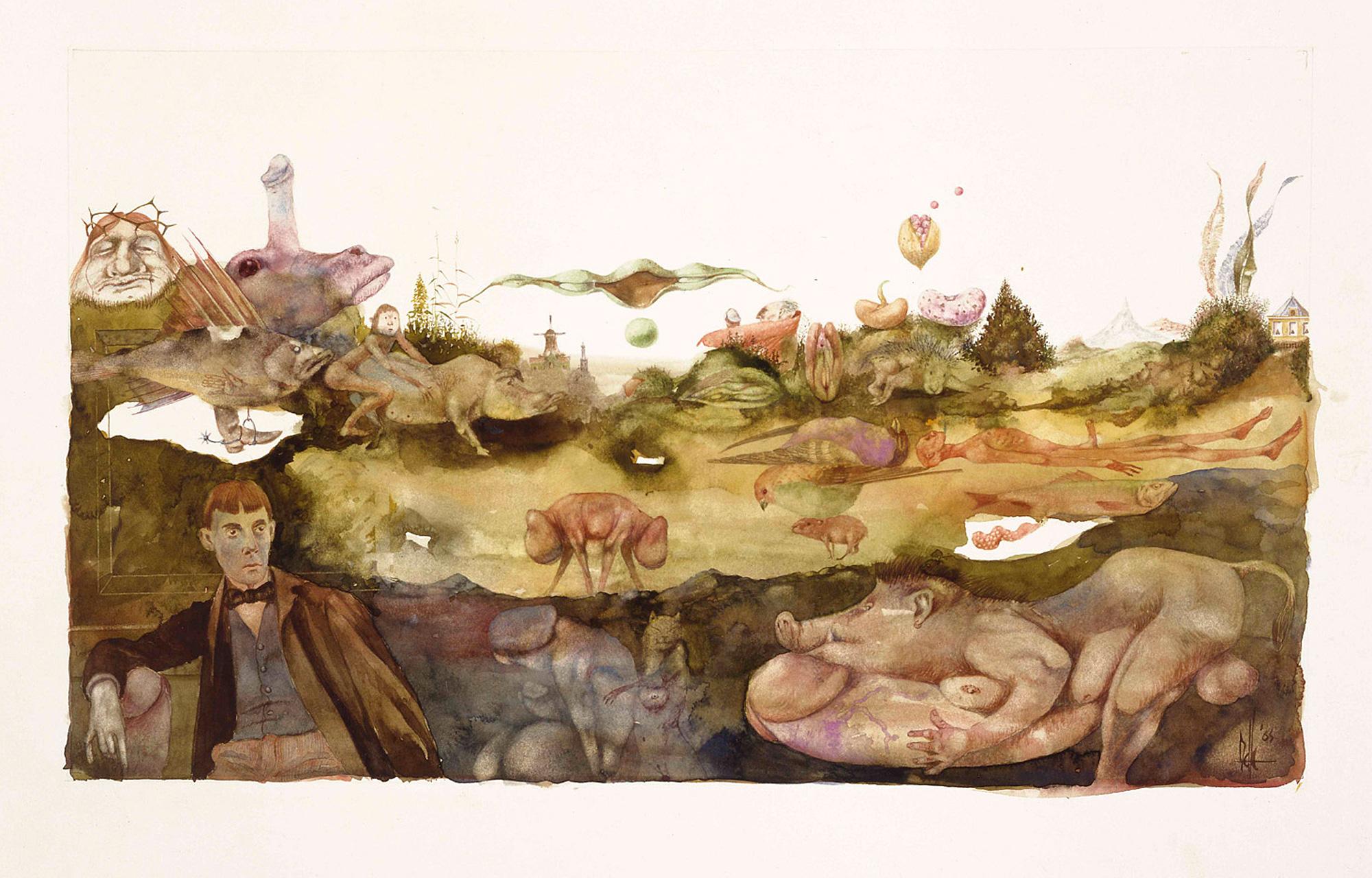 Melle schilder | Hommage to Beardsley, aquarelverf op papier