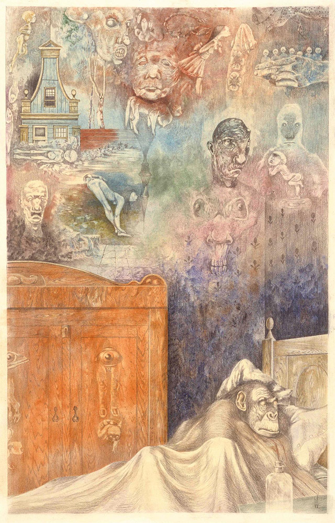 Melle schilder   Zieke aap, pastel, potlood op papier