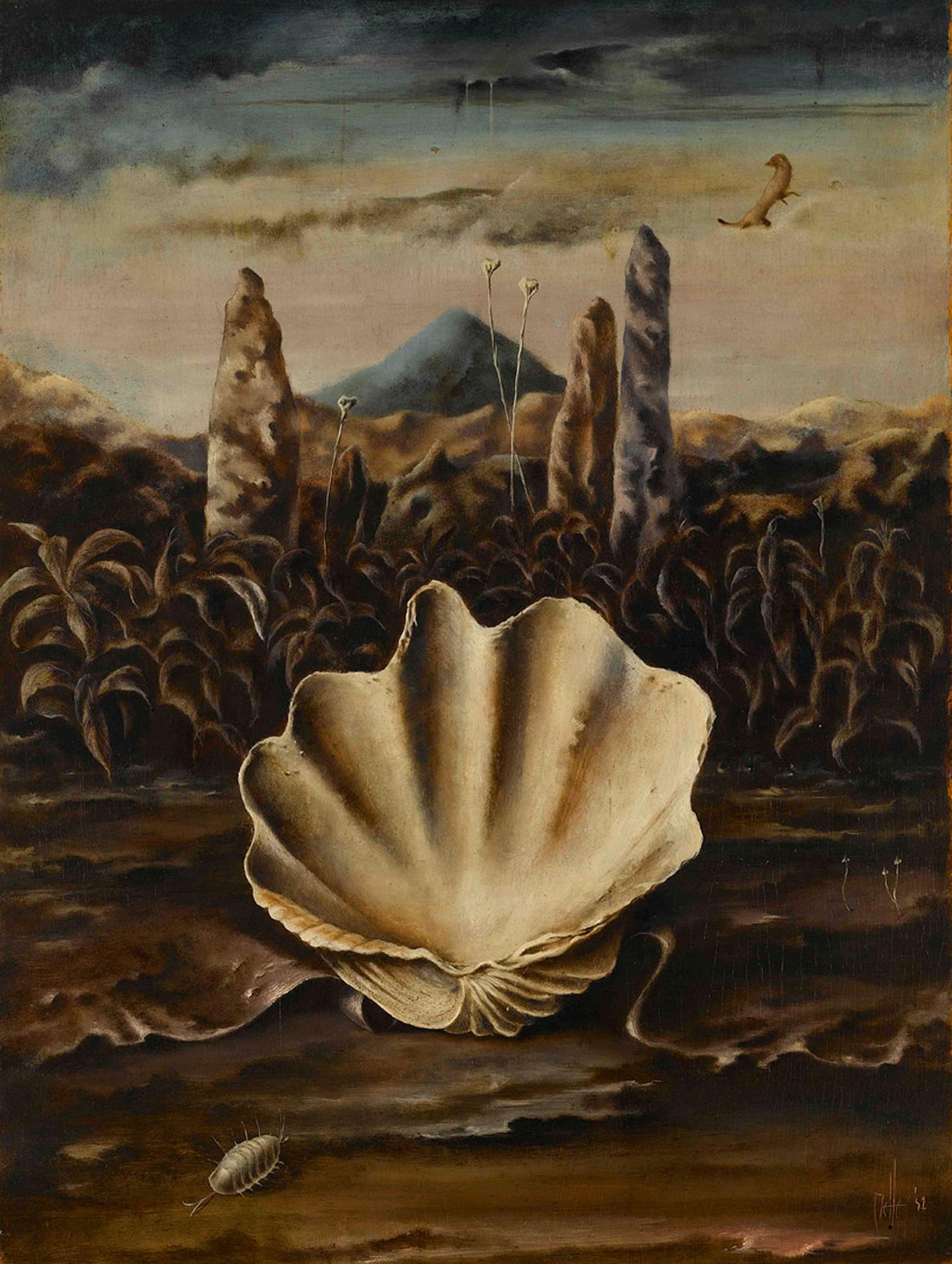 Melle schilder | Landschap met schelp, olieverf op paneel