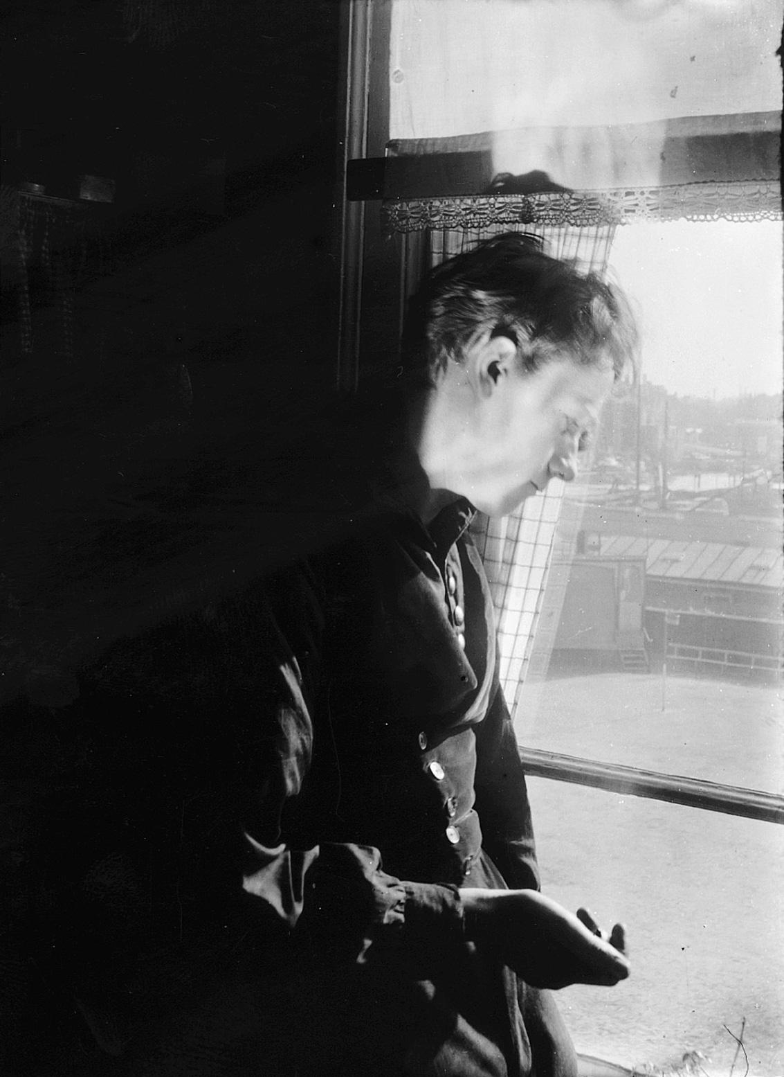 Melle schilder | zelfportret , glasnegatief op fotopapier