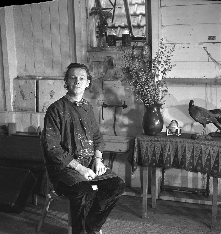 Melle schilder | Melle, atelier Amsteldijk 62, foto Emmy Andriesse, film op fotopapier