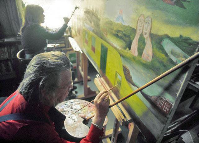 Melle schilder | Melle en Ruscha Langelaan, duo schilderij ,  op fotopapier